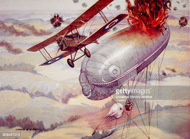 American Pilot Major George A. Vaughn Destroying a German Kite Observation Balloon, Painting, Charles H. Hubbell, 1917 .