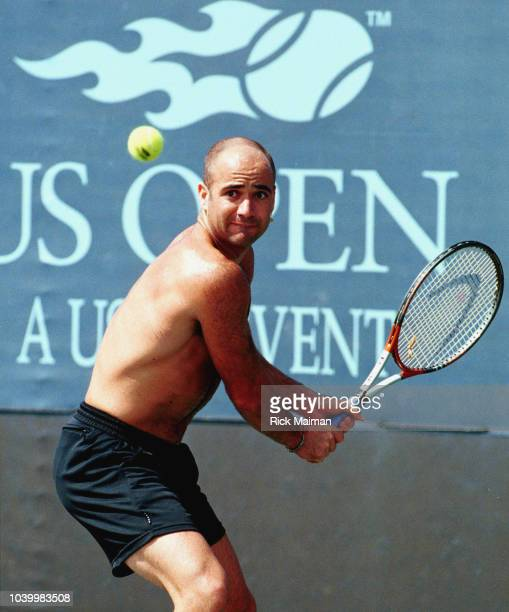 American player Andr Agassi during a training session