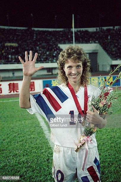 American player Michelle Akers after the final of the first women's soccer World Cup In the final USA won 21 over Norway Akers scored the two goals