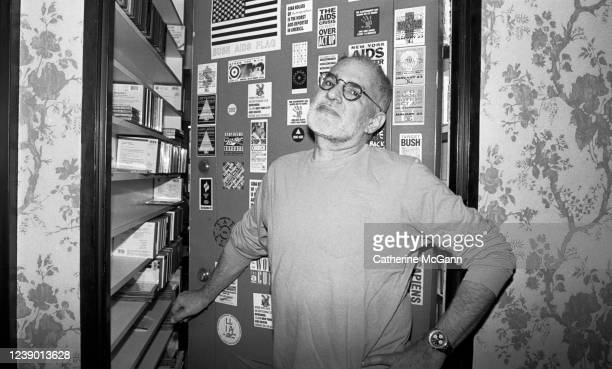 American playwright and gay rights activist Larry Kramer poses for a portrait at the open door of his apartment in April 1993 in New York City New...