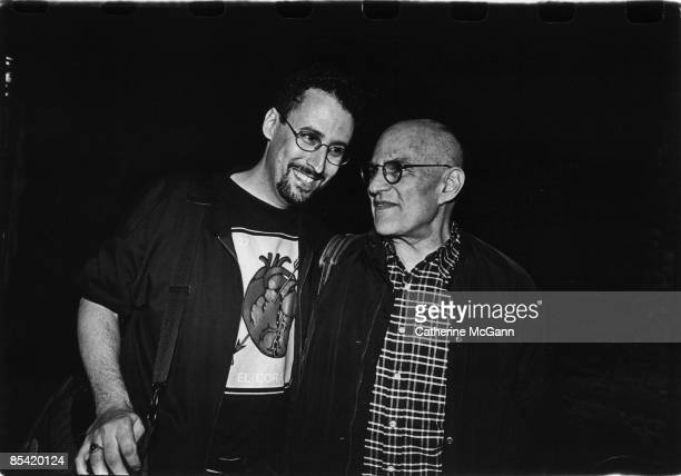 American playwright and screenwriter Tony Kushner author of Angels in America and American playwright and gay rights activist Larry Kramer pose for a...