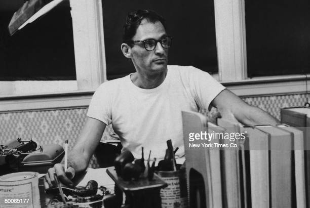 American playwright Arthur Miller at his desk circa 1955