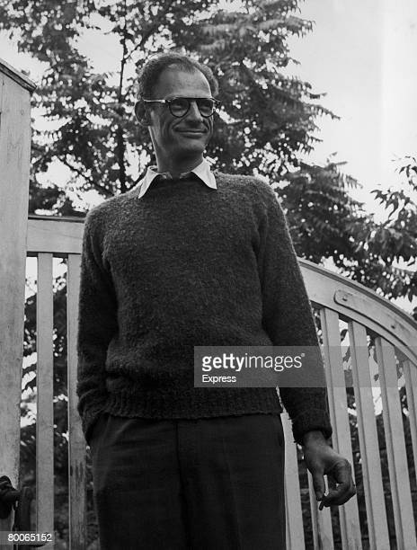 American playwright Arthur Miller in the garden of his home at Englefield Green Surrey 6th September 1956