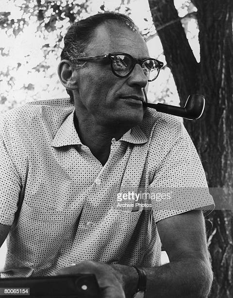 American playwright Arthur Miller on the location shoot of 'The Misfits' 1960 Miller wrote the screenplay for the film which stars his wife Marilyn...