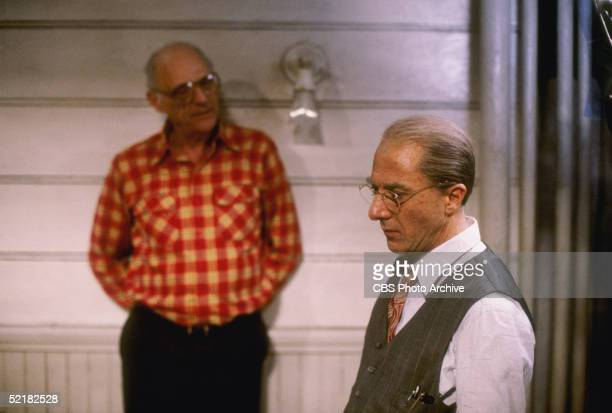 American playwright Arthur Miller talks to actor Dustin Hoffman during production of the CBS Television adaptation of 'Death Of A Salesman' 1985...