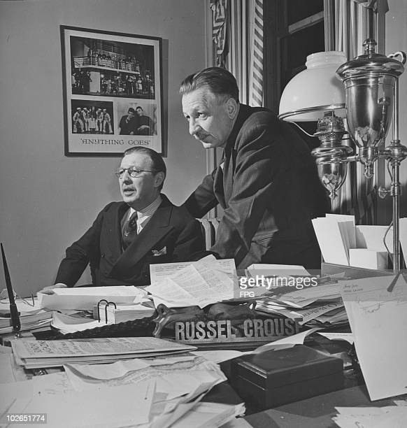 American playwright partners Russel Crouse and Howard Lindsay in Crouse's office circa 1947 Behind them is a poster for their revised version of the...
