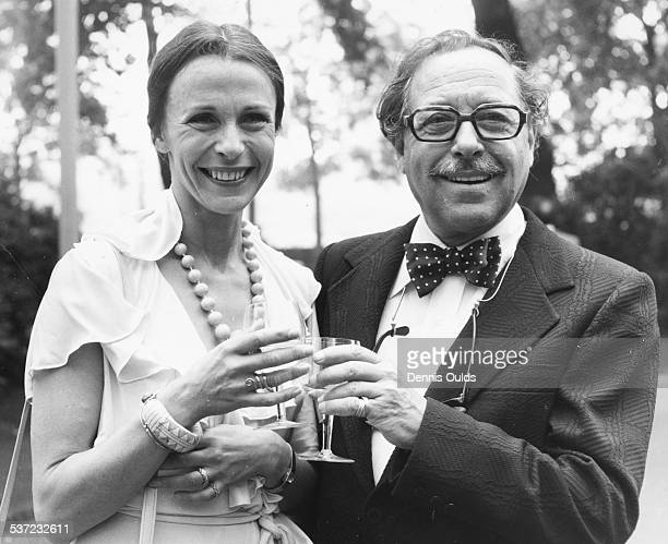 American playwright Tennessee Williams and actress Claire Bloom, toasting their play 'A Streetcar Named Desire', celebrating the play's 25th...