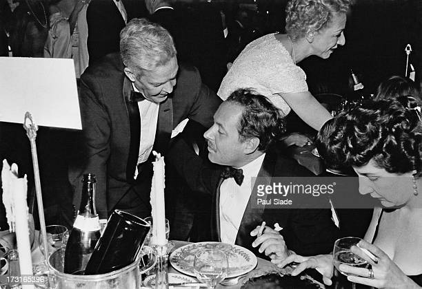 American playwright Tennessee Williams dining at the WaldorfAstoria after the premiere of 'Baby Doll' New York City 18th December 1956 The film was...
