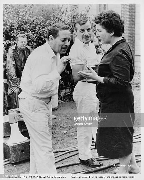 American playwright Tennessee Williams with actress Maureen Stapleton on the set of 'The Fugitive Kind', New York, 1959. The film is based on...
