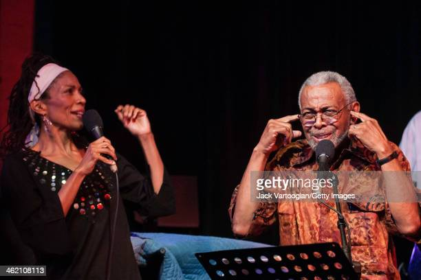 American poet and activist Amiri Baraka born Everett LeRoi Jones reads the words to songs by Curtis Mayfield with Leena Conquest on vocals in a...