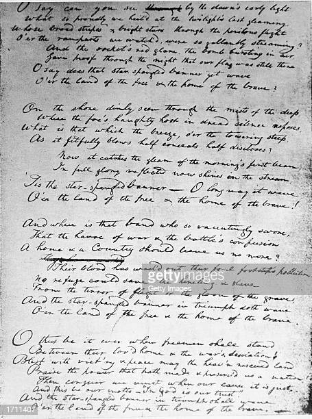 American poet and attorney Francis Scott Key's original handwritten draft for The Star Spangled Banner written in 1814 during the War of 1812