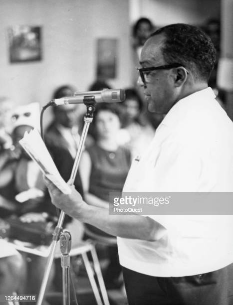 American poet and author Langston Hughes speaks at the Dakar Festival of Arts, Dakar, Senegal, April 1966.