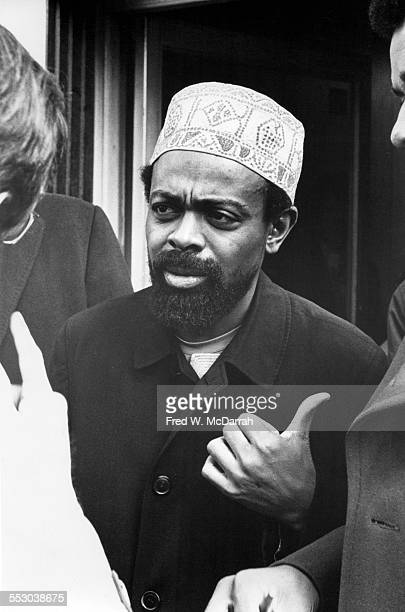 American poet and playwright Amiri Baraka speaks to unidentified others New York New York October 31 1972