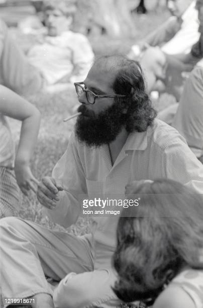 American poet and writer Allen Ginsberg at the 'Easter Be-In' on Central Park's Sheep Meadow, New York, NY, March 26, 1967.