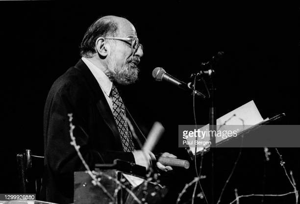 American poet and writer Allen Ginsberg performs at Paradiso, Amsterdam, Netherlands, 10 January 1992.