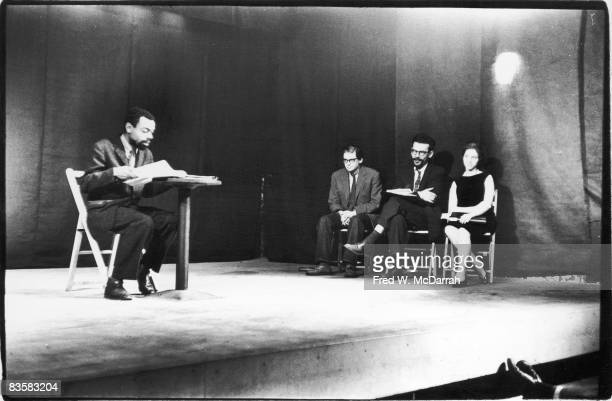 American poet LeRoi Jones reads from his poem 'In Memory of Radio' at the Living Theatre New York New York January 16 1961 The reading part of a...