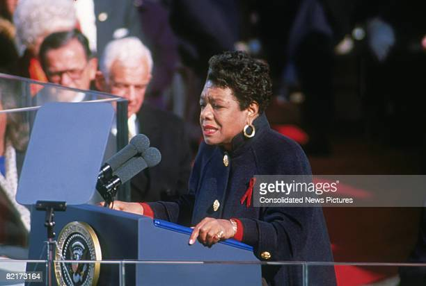 American poet Maya Angelou reciting her poem 'On the Pulse of Morning' at the inauguration of President Bill Clinton in Washington DC, 20th January...