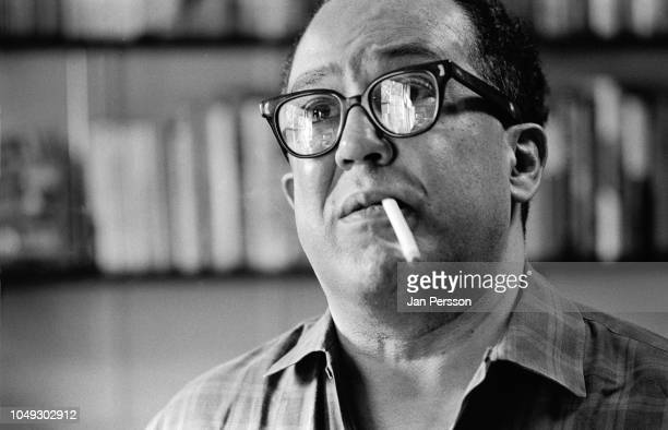 American poet, novelist and playwright Langston Hughes at his home east 127th New York. May 1962.
