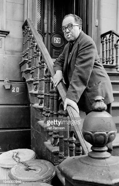 American poet, novelist and playwright Langston Hughes outside his home east 127th New York. May 1962.