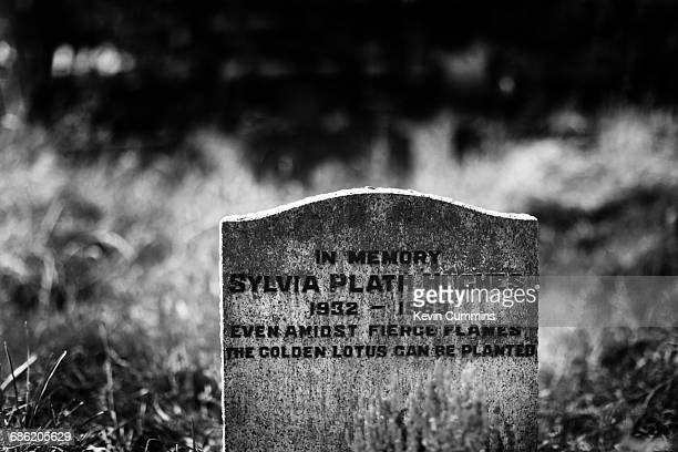 American poet Sylvia Plath's grave in St Thomas A Beckett Churchyard Heptonstall Yorkshire United Kingdom 26th August 2016 She was married to poet...