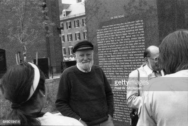 American poets Lawrence Ferlinghetti and Allen Ginsberg attend the dedication of the Kerouac Commemorative memorial sculpture in Kerouac Park Lowell...