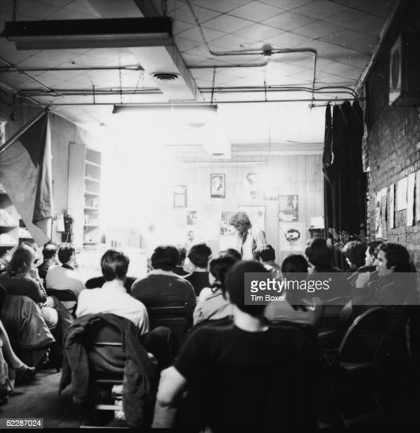American political activist Abbott Abbie Hoffman addresses a group of students in a study hall near Union Square New York New York late 1960s