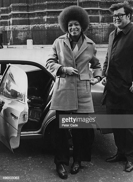 American political activist and academic Angela Davis arrives at a press conference at the House Of Commons London to add her support to the campaign...