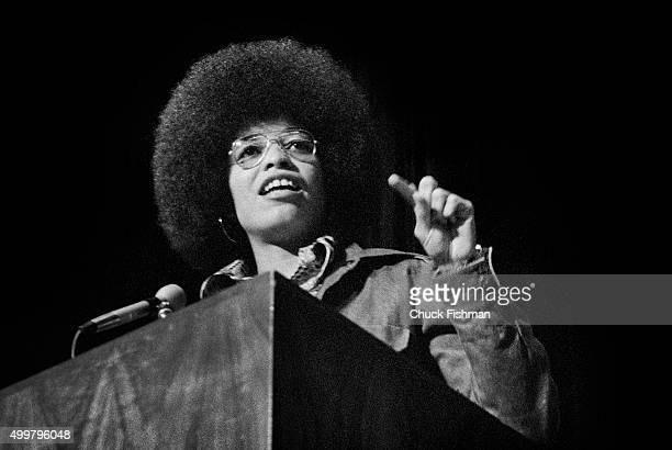 American political activist and scholar Angela Davis speaks at Northern Illinois University, DeKalb, Illinois, 1972. She had recently been released...