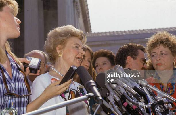 American political activist Phyllis Schlafly delivers a statement to the press following the US Supreme Court's decision in 'Planned Parenthood of...