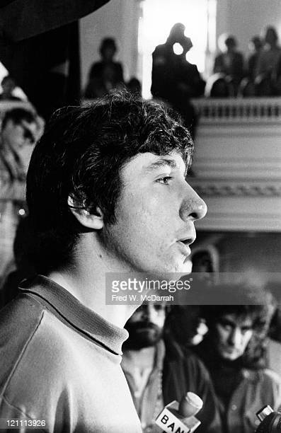 American political activist Tom Hayden one of the Chicago Seven speaks at a rally in support of the Black Panther Party New Haven Connecticut May 1...