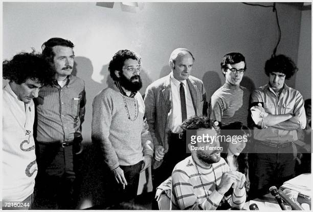American political activists and antiwar demonstrators known as the Chicago Seven speak to reporters at a press conference after being charged with...