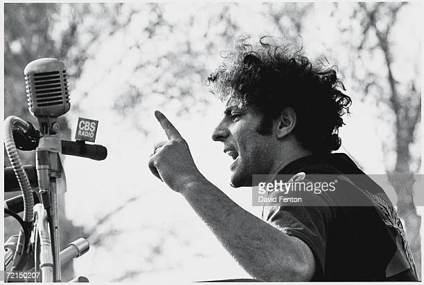 American political and social activist Abbie Hoffman speaks at a rally in support of the Black Panther Party New Haven Connecticut May 1 1970 Hoffman...
