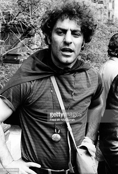 American political and social activist Abbie Hoffman stands with his hands on his hips at an unspecified outdoor event May 1 1970