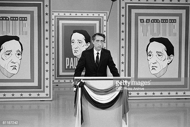 American political comedian and actor Pat Paulsen does his runningforpresident bit on 'The Smothers Brothers Comedy Hour' September 27 1968 A regular...