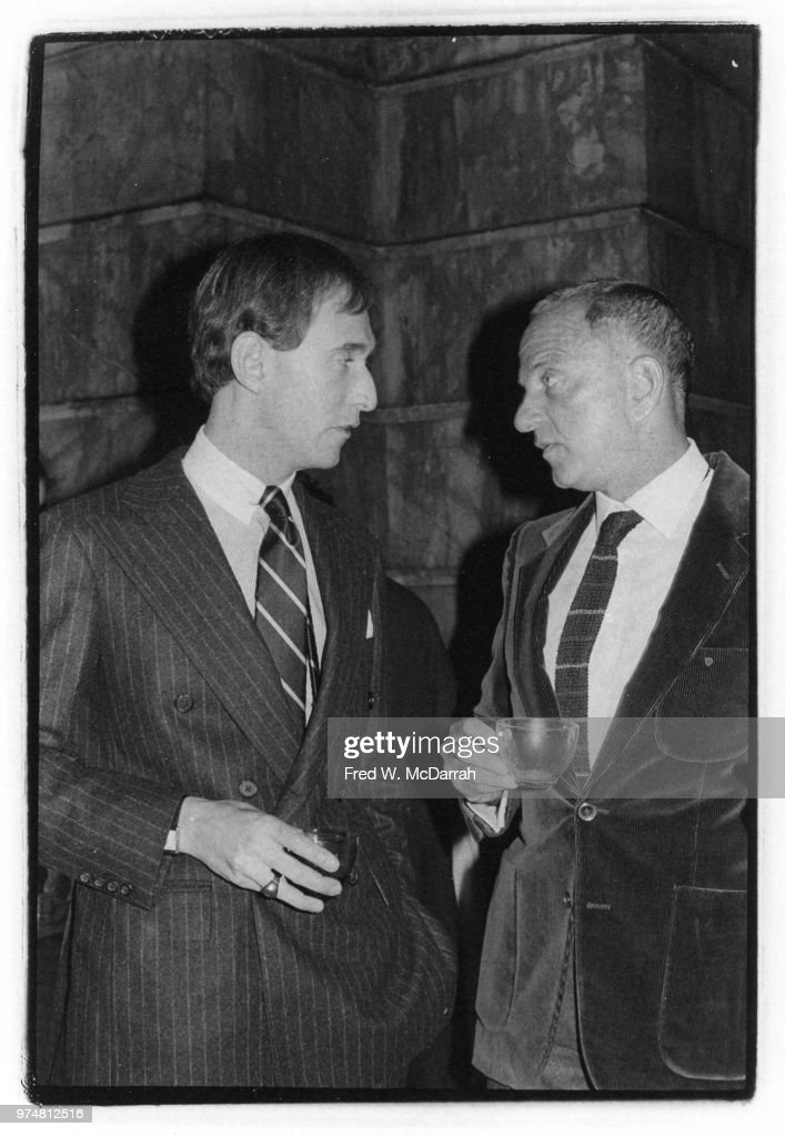 American political consultant Roger Stone (left) and attorney Roy Cohn (1927-1986) talk together as they attend Ed Koch's mayoral inauguration party, New York, New York, January 1, 1982 .