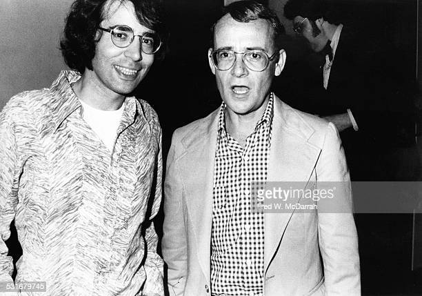 American political strategist Bob Weiner and actor writer and director Buck Henry attend a party for the film 'La Grande Bouffe' New York New York...