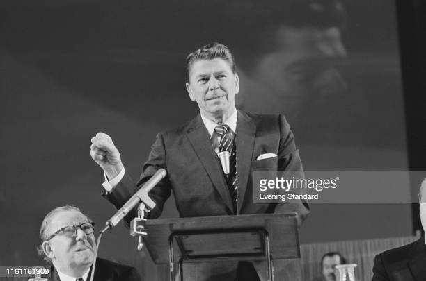American politician and actor Ronald Reagan , 33rd Governor of California, at the annual conference of the Institute of Directors at the Royal Albert...