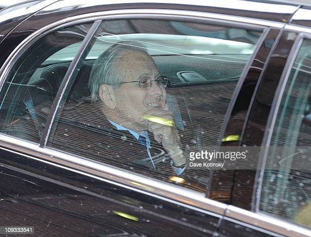 American Politician and businessman Donald Rumsfeld visits Late Show With David Letterman at the Ed Sullivan Theater on February 21 2011 in New York...