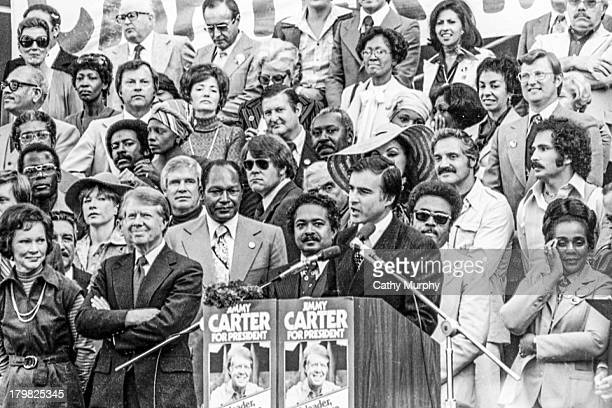 American politician and California Governor Jerry Brown speaks at a presidential campaign rally for fellow politician Jimmy Carter Los Angeles...