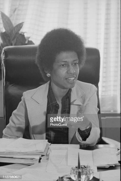 American politician and Chair of the Equal Employment Opportunity Commission Eleanor Holmes Norton as she speaks seated behind her desk Washington DC...