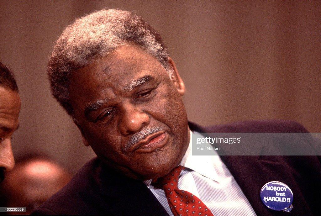Harold Washington At Inaugural Party : News Photo