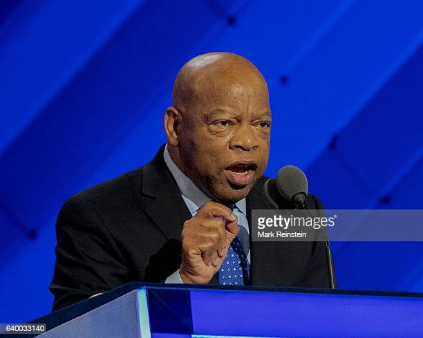American politician and Civil Rights leader US Congressman John Lewis addresses the 2016 Democratic National Convention in the Wells Fargo Arena...