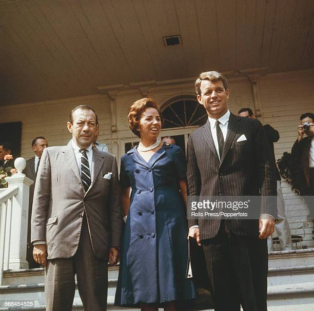 American politician and Democrat nominee for Senator from New York Robert F Kennedy pictured right with his wife Ethel Kennedy and mayor of New York...