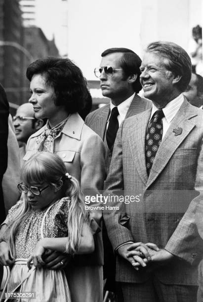 American politician and Democratic Presidential nominee Jimmy Carter his wife Rosalynn Carter and their daughter Amy Carter the day after the...