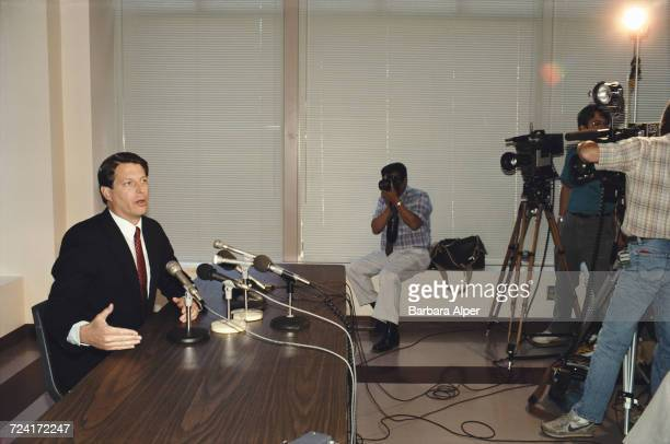 American politician and environmentalist Al Gore at a press conference during a visit to the National Women's Political Caucus in Portland, Oregon,...