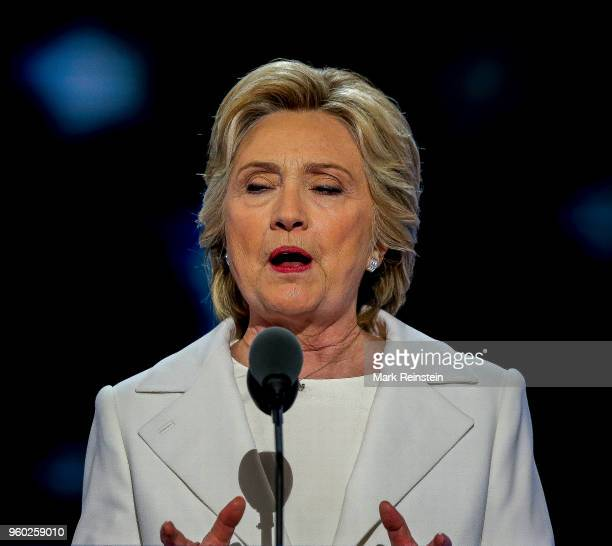American politician and former US Secretary of State Hillary Rodham Clinton speaks during the Democratic National Convention in the Wells Fargo Arena...