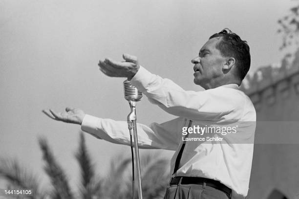 American politician and former US VicePresident Richard Nixon campaigns for Governor of California Los Angeles California August 1962 He lost the...