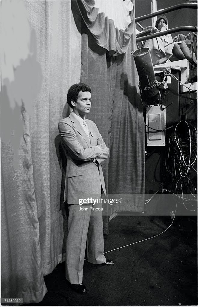 American politician and future head of NAACP Julian Bond stands in front of a curtain under a bleacher at Madison Square Garden during the 1980 Democratic National Convention, New York, New York, August