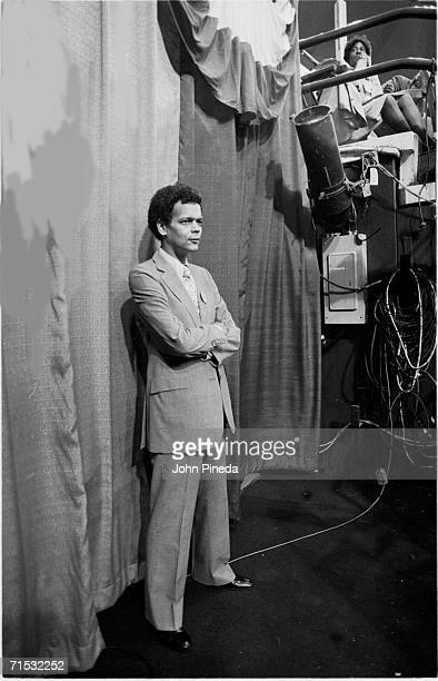 American politician and future head of NAACP Julian Bond stands in front of a curtain under a bleacher at Madison Square Garden during the 1980...
