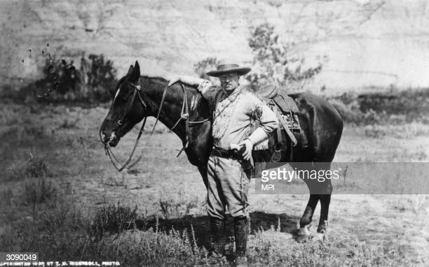 American politician and future President of the United States of America Theodore Roosevelt during a visit to the Badlands of Dakota after the death...